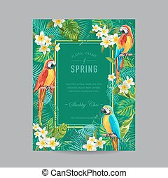 Tropical Birds and Flowers Colorful Frame - for Invitation, Wedding, Baby Shower Card - in vector