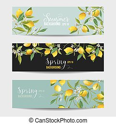 Lemon Citrus Floral Banners and Tags Set - in vector