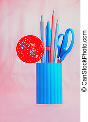 Candy with pink and blue stationery set - Blue pencil-box...