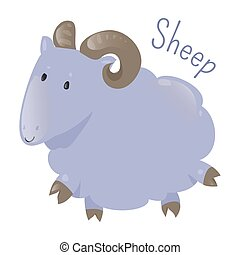 Sheep isolated Sticker for kids Child fun icon - Sheep...