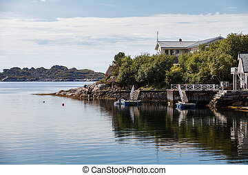 Beautiful view on nowegian fjords and seaside houses...