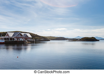 Beautiful view on nowegian fjords and seaside houses....