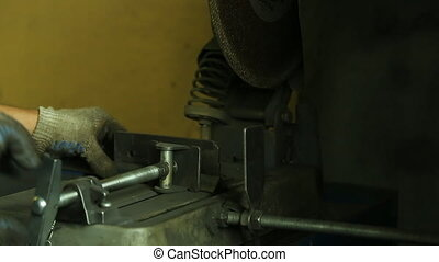 Cutting of metal parts on cutting machine and a lot of...