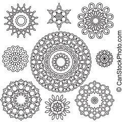 Floral Ornament Pattern - Vector Set Floral ornament pattern...