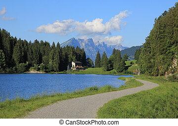 Travel destination Obersee, Glarus Canton - Trail leading...