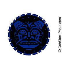 Tiger face indigenous pattern style