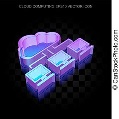 Cloud technology icon: 3d neon glowing Cloud Network made of...