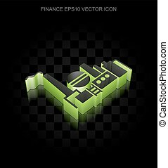 Business icon: Green 3d Oil And Gas Indusry made of paper, transparent shadow, EPS 10 vector.