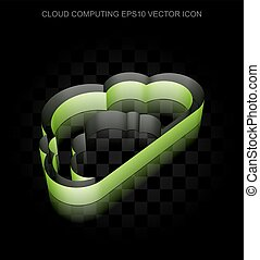 Cloud technology icon: Green 3d Cloud made of paper,...