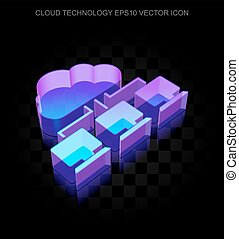 Cloud computing icon: 3d neon glowing Cloud Network made of...