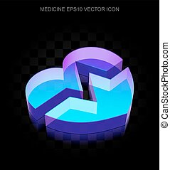 Medicine icon: 3d neon glowing Heart made of glass, EPS 10 vector.