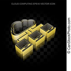 Cloud technology icon: Yellow 3d Cloud Network made of...