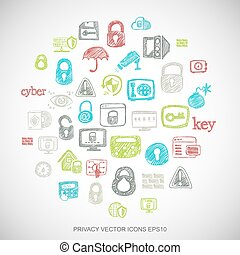 Multicolor doodles Hand Drawn Security Icons set on White. EPS10 vector illustration.