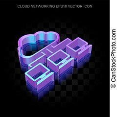 Cloud networking icon: 3d neon glowing Cloud Network made of...