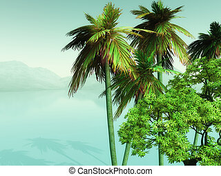 3D palm trees looking over misty ocean - 3D render of palm...