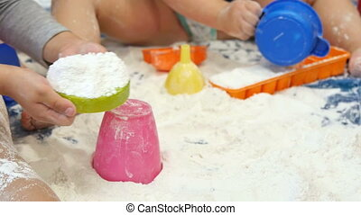 Children Playing with White Flour - Children playing with...