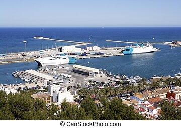 Denia Alicante Spain high view marina and mediterranean sea