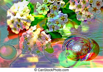 Colorful abstraction with flowers and spheres