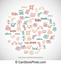 Multicolor doodles Hand Drawn Politics Icons set on White...