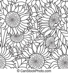 Seamless Sunflowers bouquet. Vector. Coloring book page for...