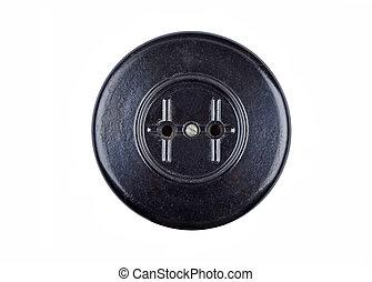 Vintage power socket, isolated on white background