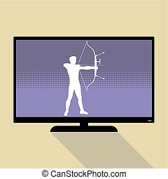 Watch sports on flat tv. Silhouette of man practicing with a...
