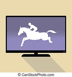 Watch sports on flat tv. Horse Jumping, Equestrian Sports...