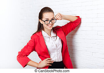 Businesswoman happy smile wear red jacket glasses business...