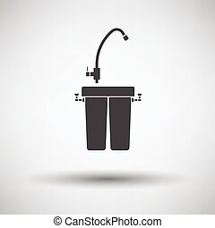 Water filter icon on gray background, round shadow Vector...