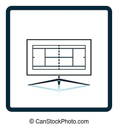 Tennis TV translation icon. Shadow reflection design. Vector...