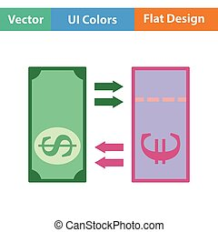 Currency exchange icon Flat color design Vector illustration...