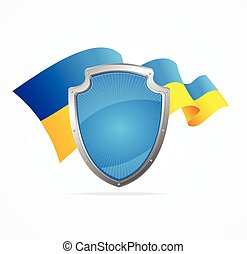 Ukraine Flag and Shield. Vector