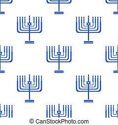 Silhouettes of Menorah Seamless Pattern. Jewish Symbol of...