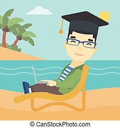 Graduate lying in chaise lounge with laptop. - An asian...