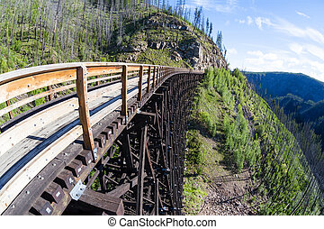 Historic Trestle at Myra Canyon Provincial Park, Canada -...
