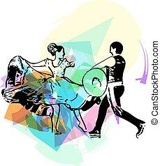 Ilustração, de, par, Dançar