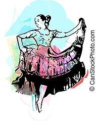 Ilustração, de, mulher, Dançar