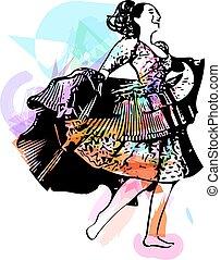 Illustration of woman dancing Vector Illustration