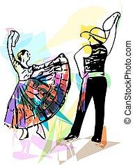 par, Ilustração, Dançar