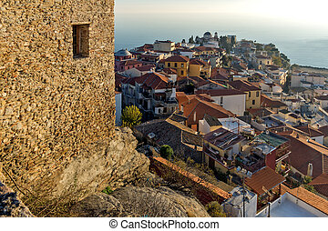 old town of Kavala - Panoramic view to old town of Kavala,...