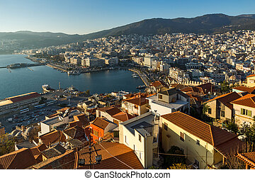 port of Kavala, Greece - Panorama to old town and port of...