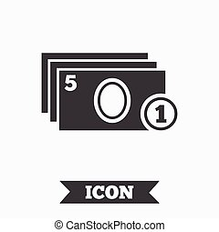 Cash and coin sign icon. Paper money symbol. For cash...