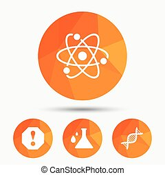 Attention and DNA icons. Chemistry flask. - Attention and...