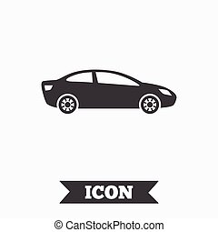 Car sign icon. Sedan saloon symbol. Transport. Graphic...