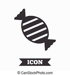 Candy icon Sweet food sign Graphic design element Flat candy...