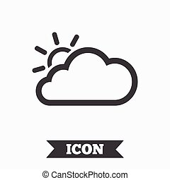 Cloud and sun sign icon Weather symbol Graphic design...