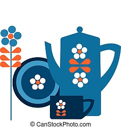 blue pot and a cup with flower and plate