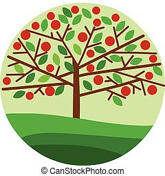 red apple tree on green background, spring season