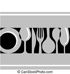 grey tableware:fork, knife , plate and glass