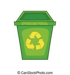 Eco dustbin icon, cartoon style - Eco dustbin icon in...